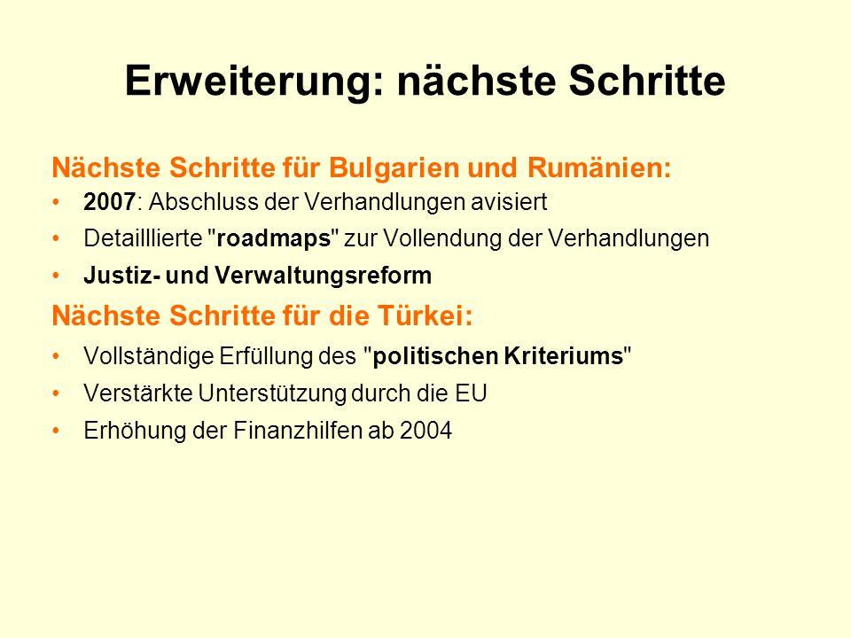 Erweiterung: nächste Schritte Nächste Schritte für Bulgarien und Rumänien: 2007: Abschluss der Verhandlungen avisiert Detailllierte