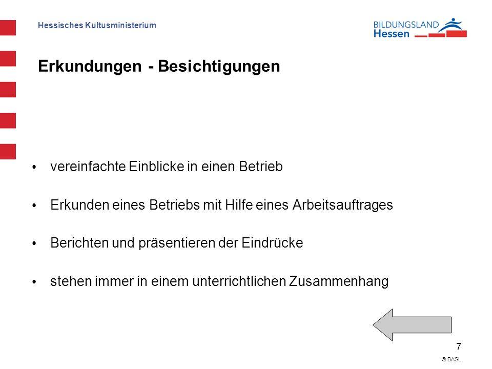 Hessisches Kultusministerium 7 © BASL Erkundungen - Besichtigungen vereinfachte Einblicke in einen Betrieb Erkunden eines Betriebs mit Hilfe eines Arb