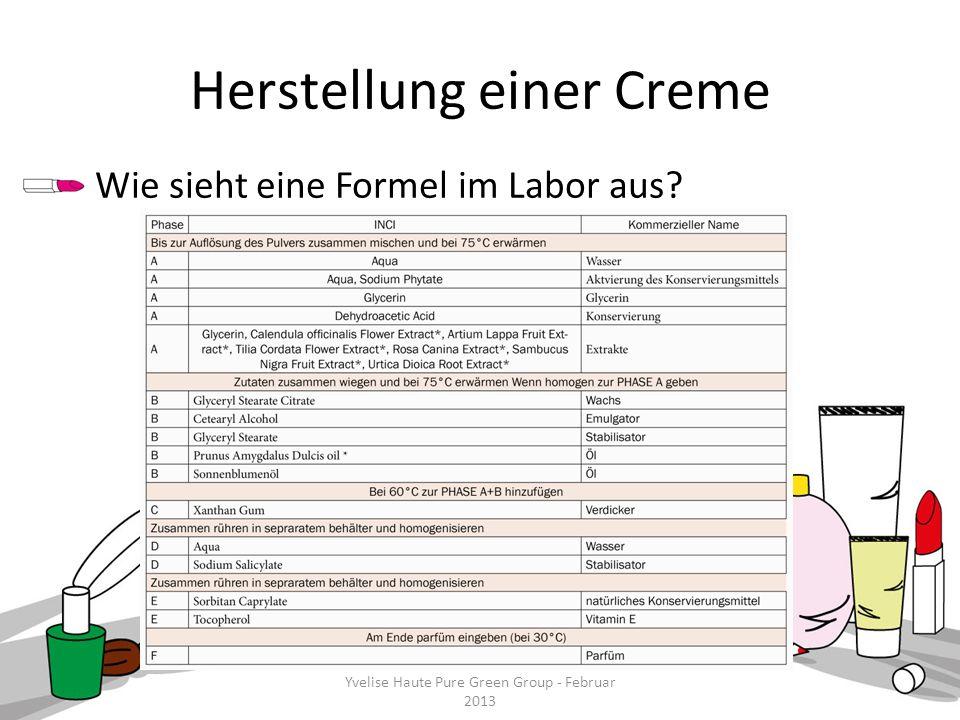 Yvelise Haute Pure Green Group - Februar 2013 Herstellung einer Creme Wie sieht eine Formel im Labor aus? Yvelise Haute Pure Green Group - Februar 201