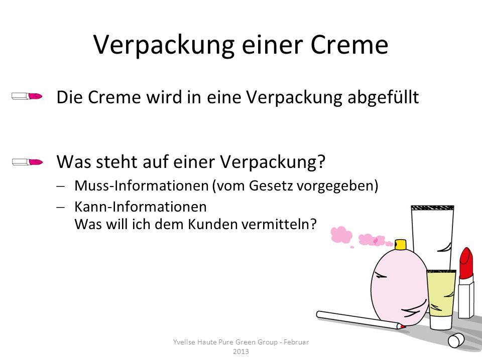 Verpackung einer Creme Die Creme wird in eine Verpackung abgefüllt Was steht auf einer Verpackung? Muss-Informationen (vom Gesetz vorgegeben) Kann-Inf