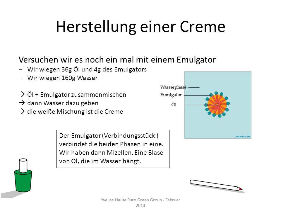 Herstellung einer Creme Versuchen wir es noch ein mal mit einem Emulgator Wir wiegen 36g Öl und 4g des Emulgators Wir wiegen 160g Wasser Öl + Emulgato