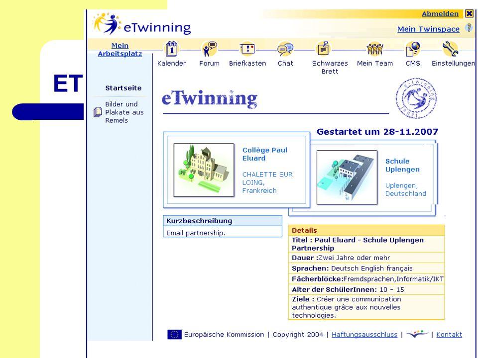 Stand: Februar 2008 Verantwortlich: Margit Engel ETwinning