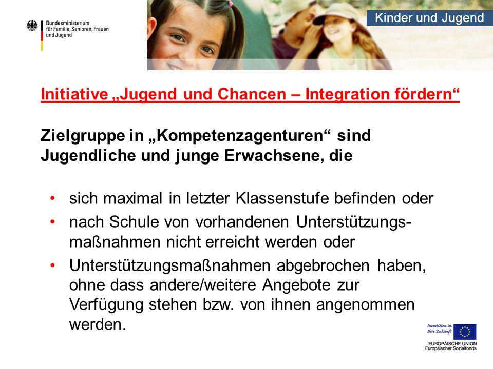 Kinder und Jugend Initiative Jugend und Chancen – Integration fördern Zielgruppe in Kompetenzagenturen sind Jugendliche und junge Erwachsene, die sich