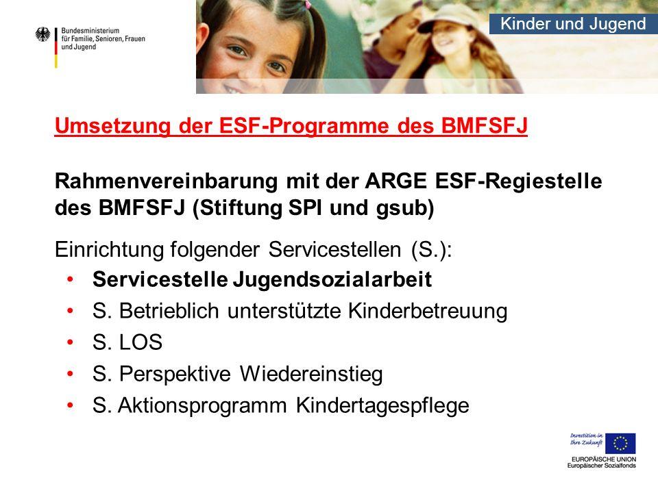 Kinder und Jugend Umsetzung der ESF-Programme des BMFSFJ Rahmenvereinbarung mit der ARGE ESF-Regiestelle des BMFSFJ (Stiftung SPI und gsub) Einrichtung folgender Servicestellen (S.): Servicestelle Jugendsozialarbeit S.