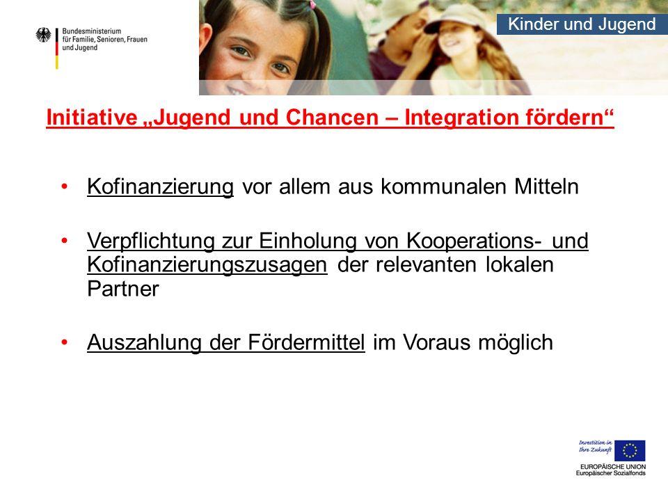 Kinder und Jugend Initiative Jugend und Chancen – Integration fördern Kofinanzierung vor allem aus kommunalen Mitteln Verpflichtung zur Einholung von Kooperations- und Kofinanzierungszusagen der relevanten lokalen Partner Auszahlung der Fördermittel im Voraus möglich