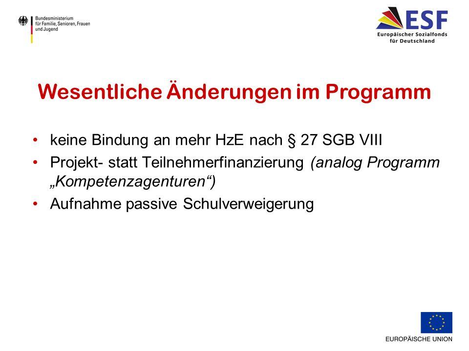 keine Bindung an mehr HzE nach § 27 SGB VIII Projekt- statt Teilnehmerfinanzierung (analog Programm Kompetenzagenturen) Aufnahme passive Schulverweigerung Wesentliche Änderungen im Programm