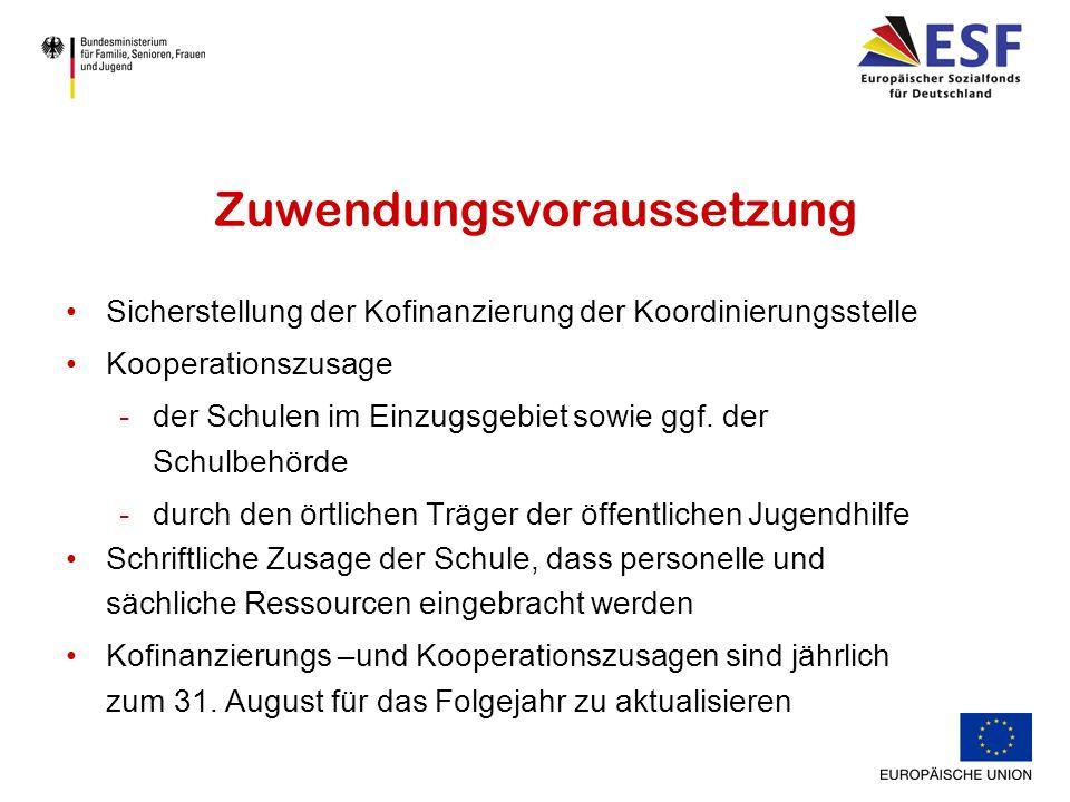 Zuwendungsvoraussetzung Sicherstellung der Kofinanzierung der Koordinierungsstelle Kooperationszusage -der Schulen im Einzugsgebiet sowie ggf.