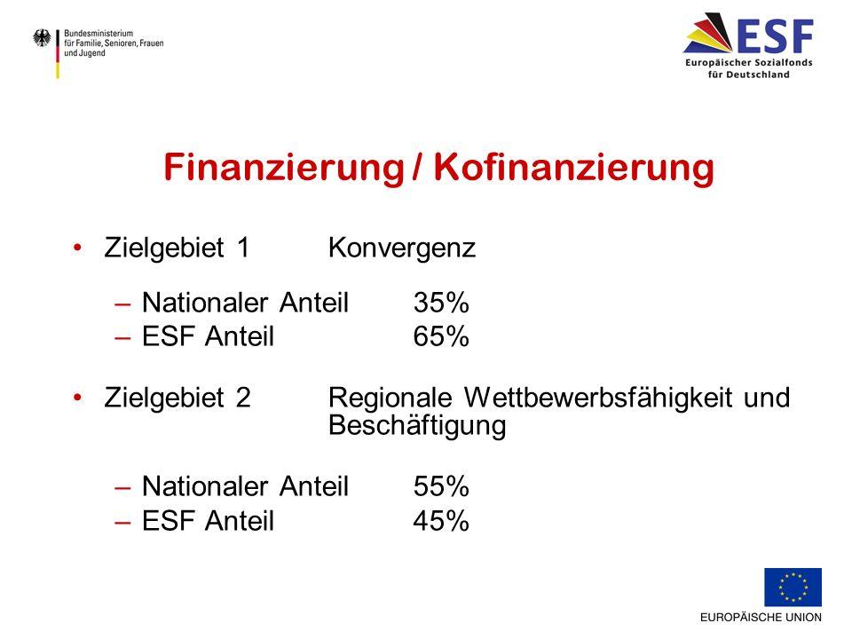 Finanzierung / Kofinanzierung Zielgebiet 1 Konvergenz –Nationaler Anteil 35% –ESF Anteil65% Zielgebiet 2 Regionale Wettbewerbsfähigkeit und Beschäftigung –Nationaler Anteil 55% –ESF Anteil45%