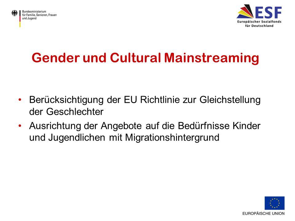 Gender und Cultural Mainstreaming Berücksichtigung der EU Richtlinie zur Gleichstellung der Geschlechter Ausrichtung der Angebote auf die Bedürfnisse Kinder und Jugendlichen mit Migrationshintergrund