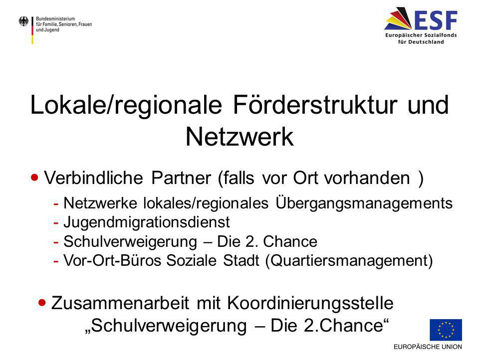 Steuerungsrunde im Bereich Übergangsmanagement Funktion und Rolle der Kompetenzagentur Lokale/regionale Förderstruktur und Netzwerk