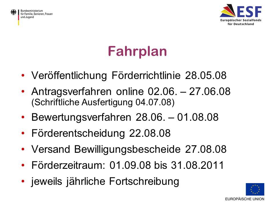 Fahrplan Veröffentlichung Förderrichtlinie 28.05.08 Antragsverfahren online 02.06.