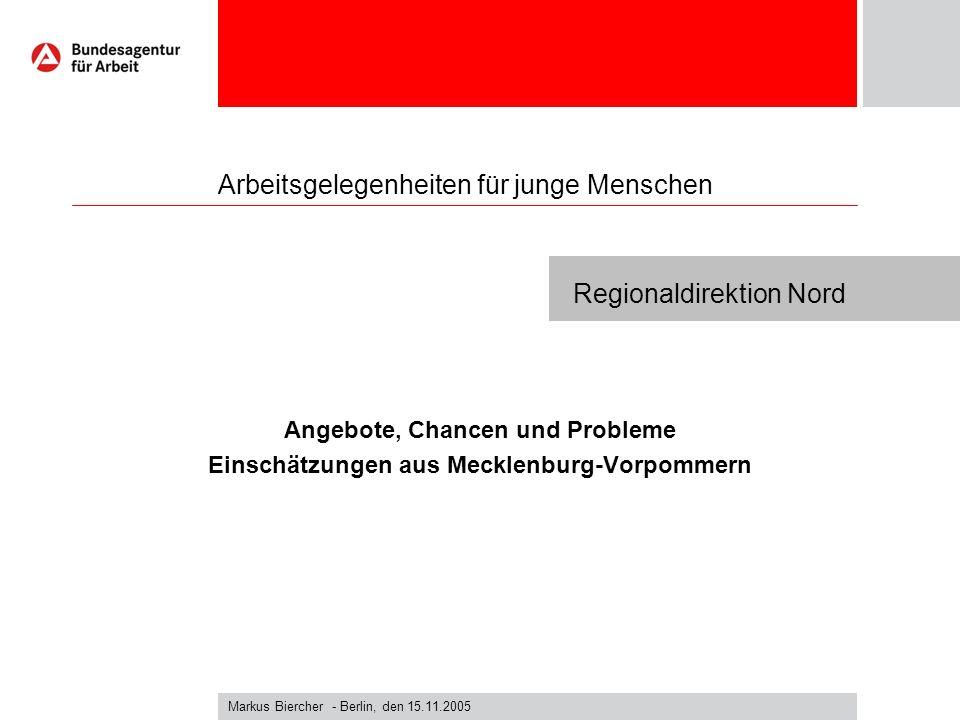 Markus Biercher - Berlin, den 15.11.2005 Regionaldirektion Nord Arbeitsgelegenheiten für junge Menschen Angebote, Chancen und Probleme Einschätzungen