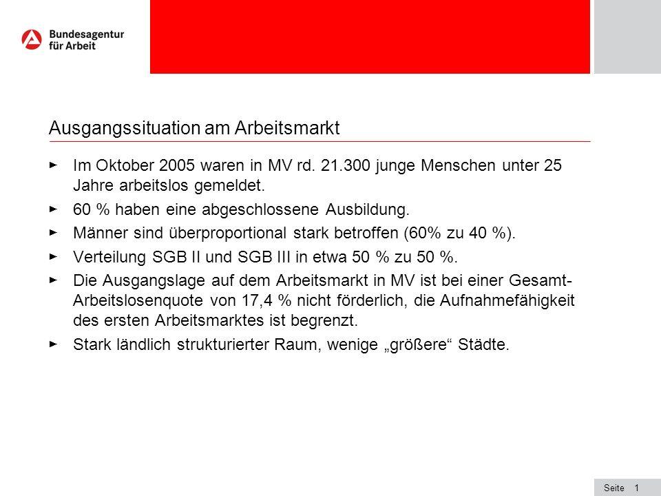 Seite1 Ausgangssituation am Arbeitsmarkt Im Oktober 2005 waren in MV rd. 21.300 junge Menschen unter 25 Jahre arbeitslos gemeldet. 60 % haben eine abg