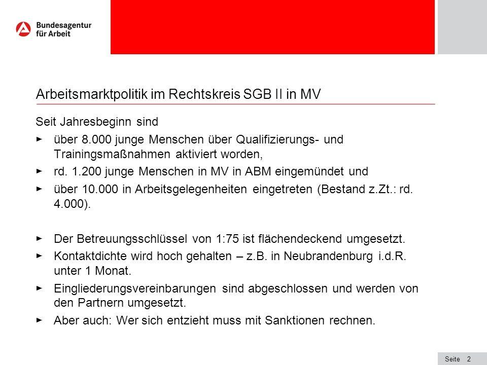 Seite2 Arbeitsmarktpolitik im Rechtskreis SGB II in MV Seit Jahresbeginn sind über 8.000 junge Menschen über Qualifizierungs- und Trainingsmaßnahmen a