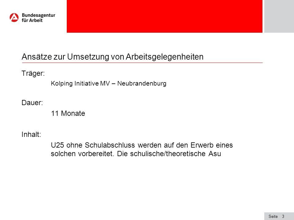 Seite3 Ansätze zur Umsetzung von Arbeitsgelegenheiten Träger: Kolping Initiative MV – Neubrandenburg Dauer: 11 Monate Inhalt: U25 ohne Schulabschluss