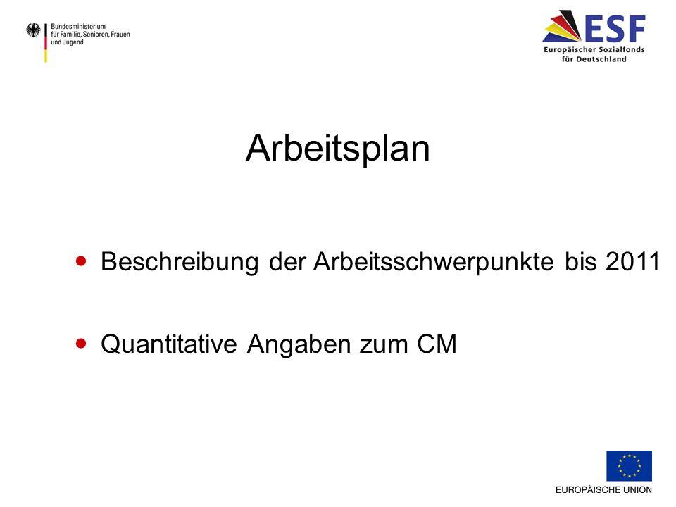 Beschreibung der Arbeitsschwerpunkte bis 2011 Quantitative Angaben zum CM Arbeitsplan