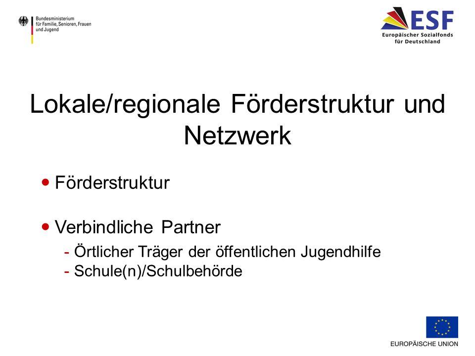 Förderstruktur Verbindliche Partner - Örtlicher Träger der öffentlichen Jugendhilfe - Schule(n)/Schulbehörde Lokale/regionale Förderstruktur und Netzw
