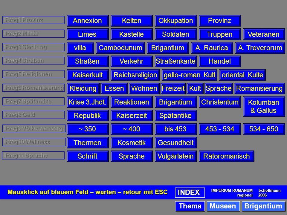 Index thematisch AnnexionKeltenOkkupationProvinzLimesKastelleSoldatenTruppenVeteranenvillaCambodunumBrigantiumA.