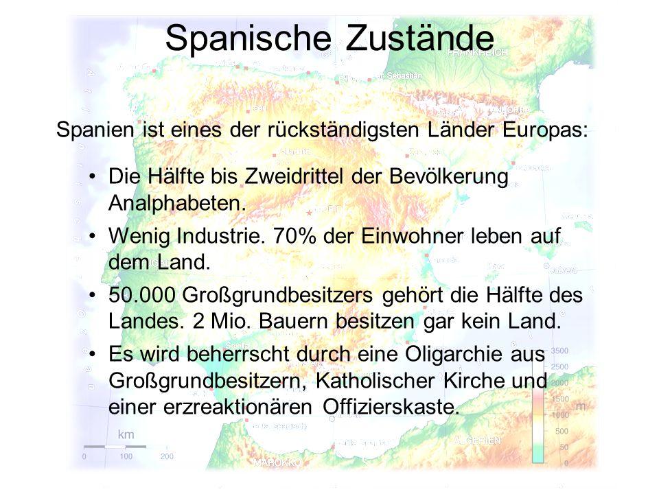 Spanische Zustände Spanien ist eines der rückständigsten Länder Europas: Die Hälfte bis Zweidrittel der Bevölkerung Analphabeten. Wenig Industrie. 70%