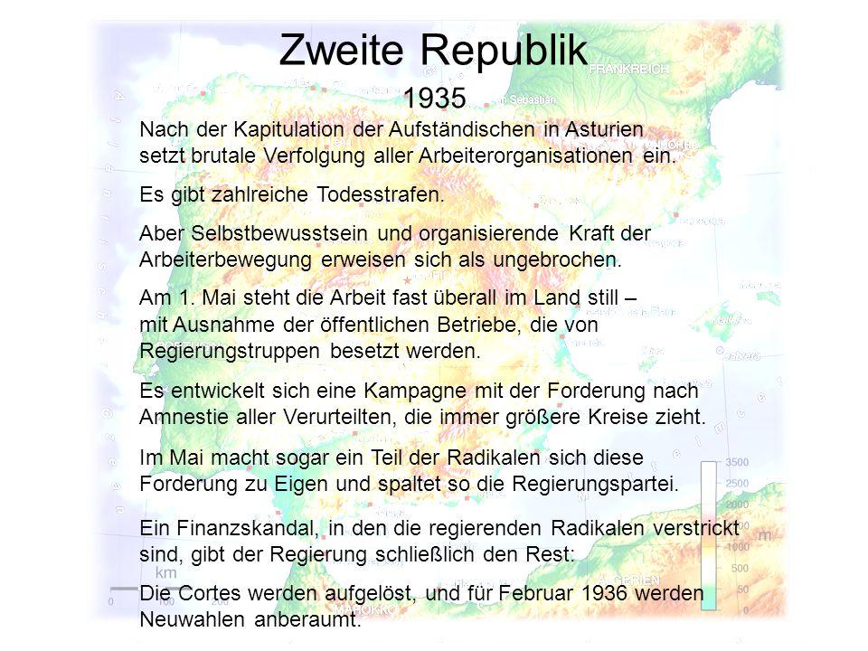 Zweite Republik 1935 Aber Selbstbewusstsein und organisierende Kraft der Arbeiterbewegung erweisen sich als ungebrochen. Am 1. Mai steht die Arbeit fa