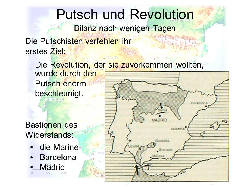 Putsch und Revolution Bilanz nach wenigen Tagen Bastionen des Widerstands: Die Putschisten verfehlen ihr erstes Ziel: Die Revolution, der sie zuvorkom