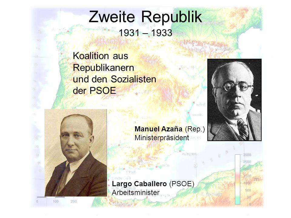 Zweite Republik 1931 – 1933 Koalition aus Republikanern und den Sozialisten der PSOE Largo Caballero (PSOE) Arbeitsminister Manuel Azaña (Rep.) Minist