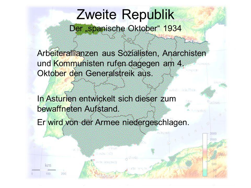 Zweite Republik Der spanische Oktober 1934 Arbeiterallianzen aus Sozialisten, Anarchisten und Kommunisten rufen dagegen am 4. Oktober den Generalstrei