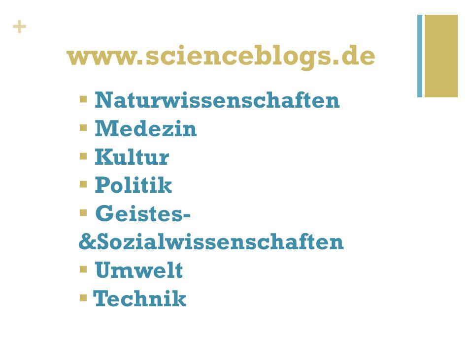 + www.scienceblogs.de Naturwissenschaften Medezin Kultur Politik Geistes- &Sozialwissenschaften Umwelt Technik