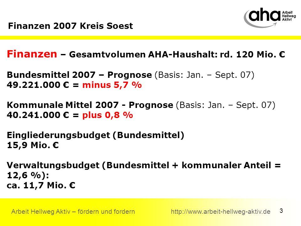 3 Arbeit Hellweg Aktiv – fördern und fordern http://www.arbeit-hellweg-aktiv.de Finanzen 2007 Kreis Soest Finanzen – Gesamtvolumen AHA-Haushalt: rd.