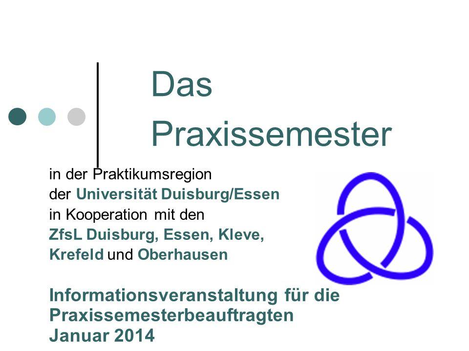 Das Praxissemester in der Praktikumsregion der Universität Duisburg/Essen in Kooperation mit den ZfsL Duisburg, Essen, Kleve, Krefeld und Oberhausen I