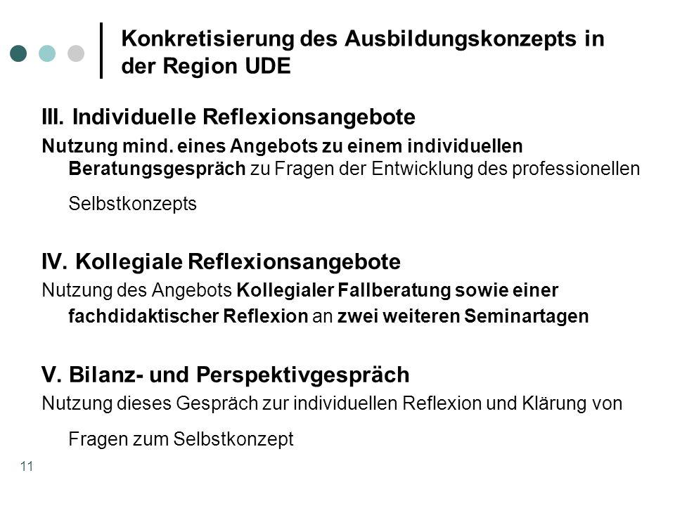 11 Konkretisierung des Ausbildungskonzepts in der Region UDE III. Individuelle Reflexionsangebote Nutzung mind. eines Angebots zu einem individuellen