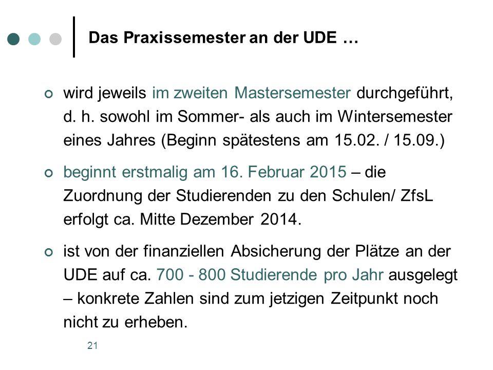 21 Das Praxissemester an der UDE … wird jeweils im zweiten Mastersemester durchgeführt, d. h. sowohl im Sommer- als auch im Wintersemester eines Jahre