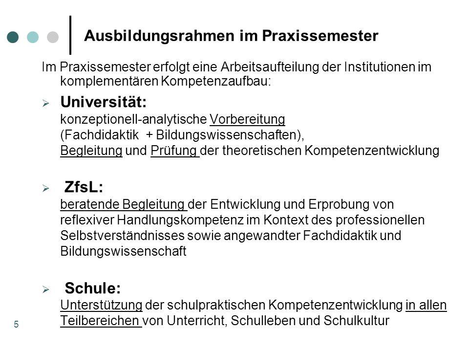 5 Ausbildungsrahmen im Praxissemester Im Praxissemester erfolgt eine Arbeitsaufteilung der Institutionen im komplementären Kompetenzaufbau: Universitä