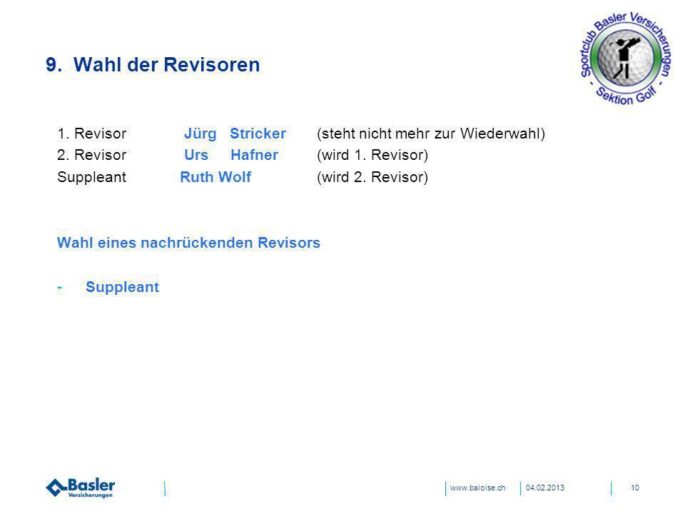 www.baloise.ch 9. Wahl der Revisoren 04.02.201310 1. Revisor Jürg Stricker (steht nicht mehr zur Wiederwahl) 2. Revisor Urs Hafner (wird 1. Revisor) S