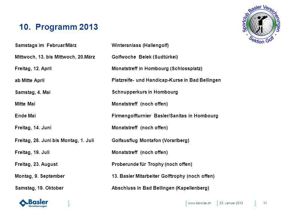www.baloise.ch 10. Programm 2013 23. Januar 201211 Samstags im Februar/März Mittwoch, 13. bis Mittwoch, 20.März Winteranlass (Hallengolf) Golfwoche Be