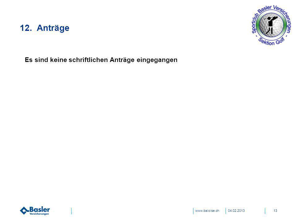www.baloise.ch 12. Anträge 04.02.201313 Es sind keine schriftlichen Anträge eingegangen