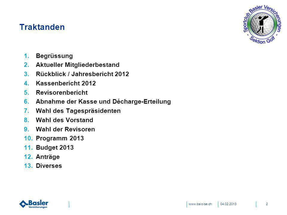 www.baloise.ch Traktanden 04.02.20132 1.Begrüssung 2.Aktueller Mitgliederbestand 3.Rückblick / Jahresbericht 2012 4.Kassenbericht 2012 5.Revisorenberi