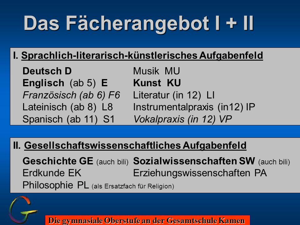 Die gymnasiale Oberstufe an der Gesamtschule Kamen Das Fächerangebot I + II I. Sprachlich-literarisch-künstlerisches Aufgabenfeld Deutsch DMusik MU En