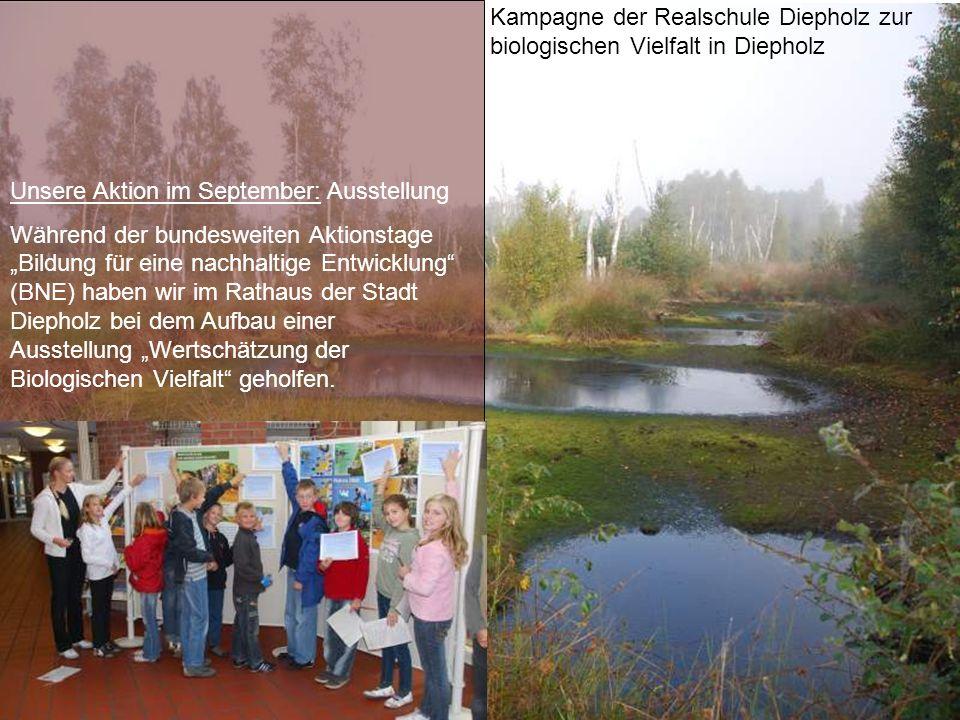 Kampagne der Realschule Diepholz zur biologischen Vielfalt in Diepholz Unsere Aktion im September: Ausstellung Während der bundesweiten Aktionstage Bi