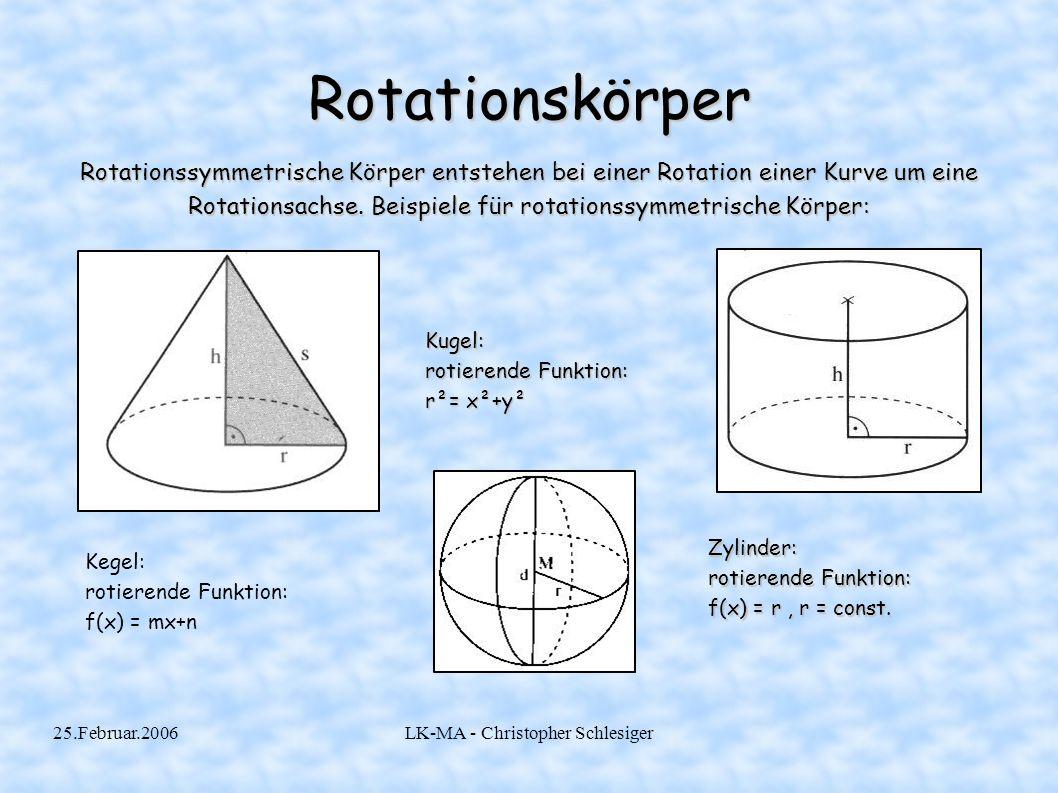 25.Februar.2006LK-MA - Christopher Schlesiger Rotation um die x-Achse(1) Vor.: Es liegt eine auf dem Intervall [a; x+Δx] stetige Funktion f vor, die um die x-Achse rotiert.