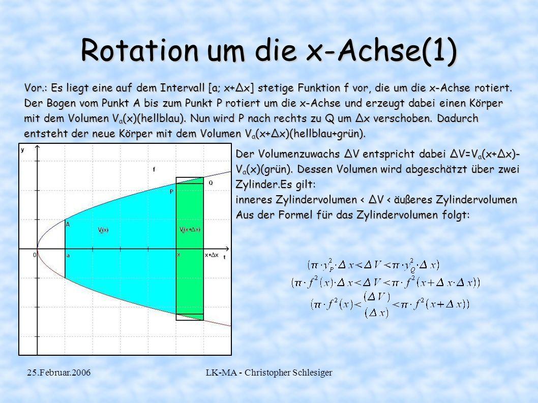 25.Februar.2006LK-MA - Christopher Schlesiger Rotation um die x-Achse(1) Vor.: Es liegt eine auf dem Intervall [a; x+Δx] stetige Funktion f vor, die u