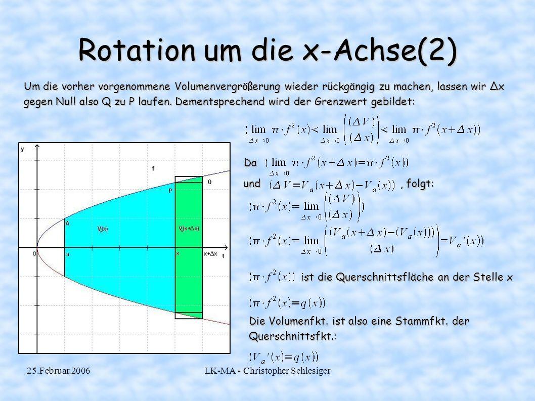 25.Februar.2006LK-MA - Christopher Schlesiger Rotation um die x-Achse(3) Nun bilden wir die Stammfunktion zur Querschnittsfunktion: Es fehlt uns nur noch die Integrationsvariable C, die wir aber durch ein paar einfache Überlegungen erhalten.