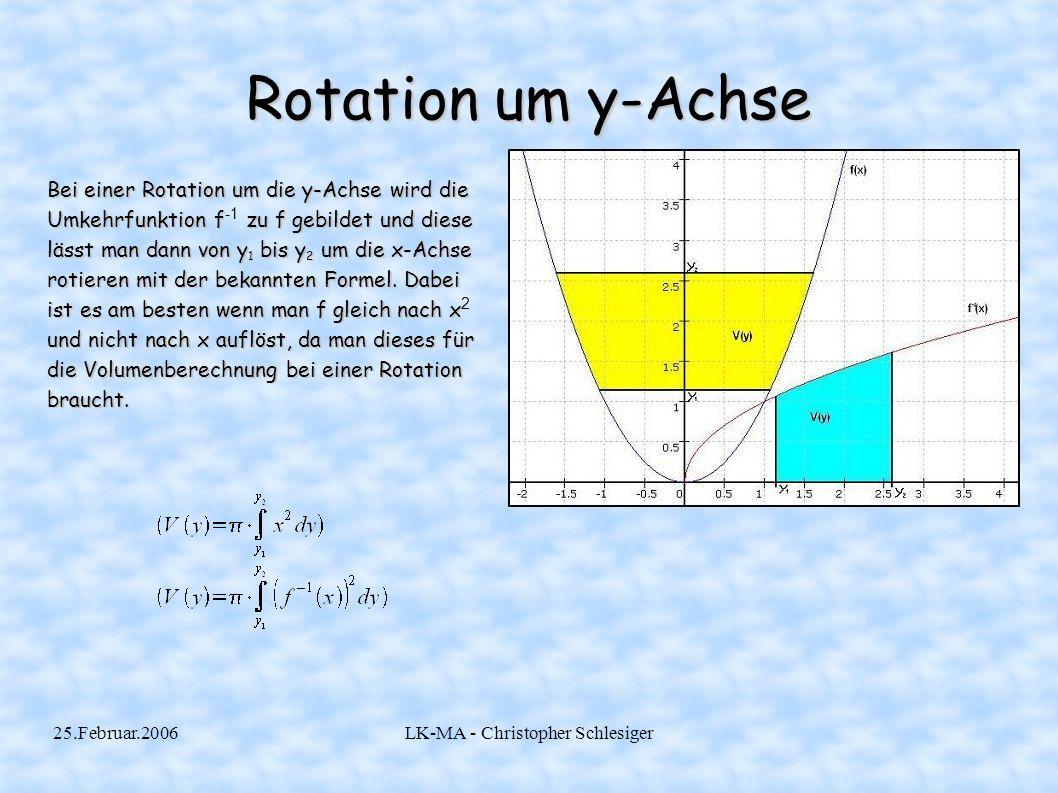 25.Februar.2006LK-MA - Christopher Schlesiger Rotation um y-Achse Bei einer Rotation um die y-Achse wird die Umkehrfunktion f zu f gebildet und diese