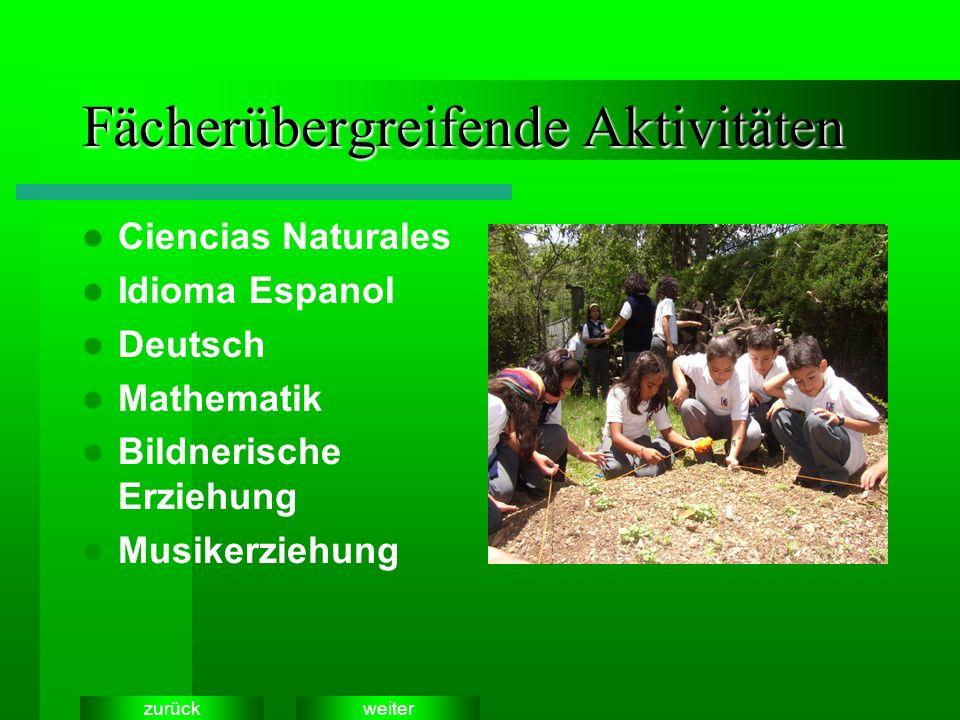 weiterzurück Fächerübergreifende Aktivitäten Ciencias Naturales Idioma Espanol Deutsch Mathematik Bildnerische Erziehung Musikerziehung