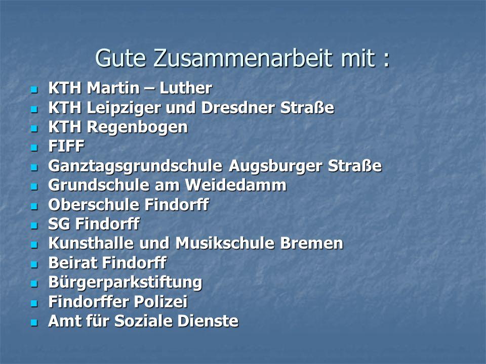 Gute Zusammenarbeit mit : KTH Martin – Luther KTH Martin – Luther KTH Leipziger und Dresdner Straße KTH Leipziger und Dresdner Straße KTH Regenbogen K