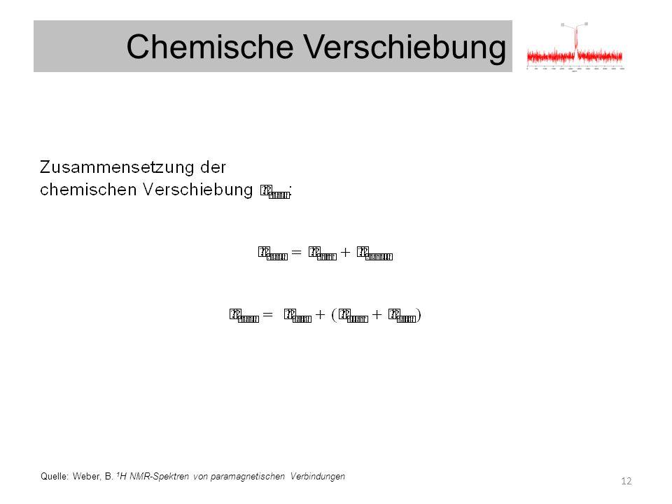 Chemische Verschiebung u 12 Quelle: Weber, B. 1 H NMR-Spektren von paramagnetischen Verbindungen