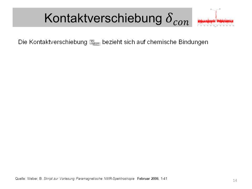 14 Quelle: Weber, B. Skript zur Vorlesung Paramagnetische NMR-Spektroskopie Februar 2006, 1-41