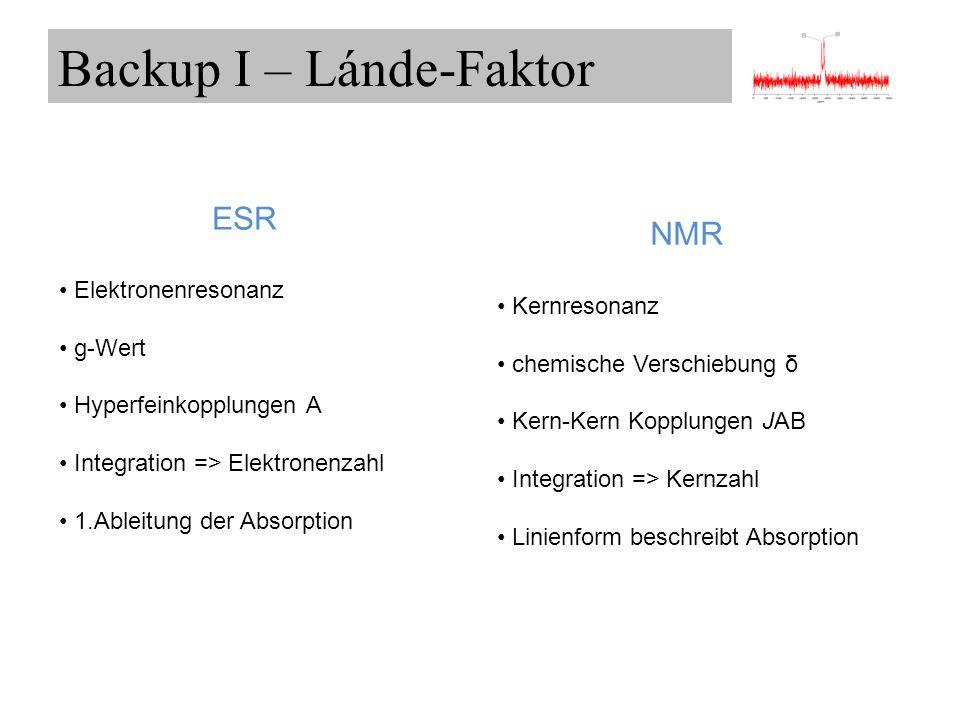 ESR Elektronenresonanz g-Wert Hyperfeinkopplungen A Integration => Elektronenzahl 1.Ableitung der Absorption NMR Kernresonanz chemische Verschiebung δ