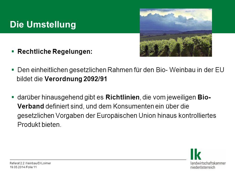 Referat 2.2 Weinbau/DI Loimer 19.05.2014 /Folie 11 Die Umstellung Rechtliche Regelungen: Den einheitlichen gesetzlichen Rahmen für den Bio- Weinbau in der EU bildet die Verordnung 2092/91 darüber hinausgehend gibt es Richtlinien, die vom jeweiligen Bio- Verband definiert sind, und dem Konsumenten ein über die gesetzlichen Vorgaben der Europäischen Union hinaus kontrolliertes Produkt bieten.