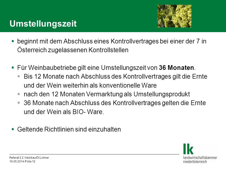 Referat 2.2 Weinbau/DI Loimer 19.05.2014 /Folie 12 beginnt mit dem Abschluss eines Kontrollvertrages bei einer der 7 in Österreich zugelassenen Kontrollstellen Für Weinbaubetriebe gilt eine Umstellungszeit von 36 Monaten.